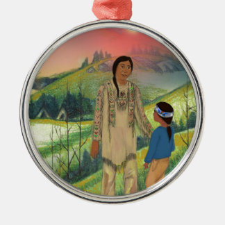 Sioux chief and son metal ornament
