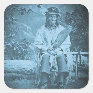 Sioux Chief Medicine Bear Vintage Stereoview Square Sticker