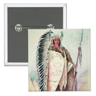 Sioux chief, 'The Black Rock' Button