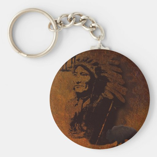 Sioux Chieftain Native American Gift Basic Round Button Keychain