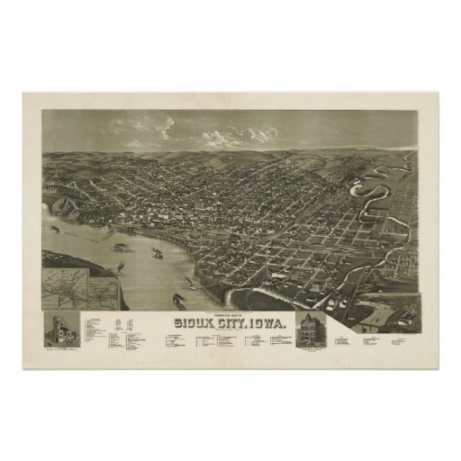 Sioux City Iowa 1888 Antique Panoramic Map Poster