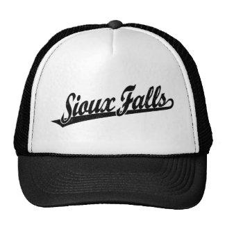 Sioux Falls script logo in black distressed Trucker Hat