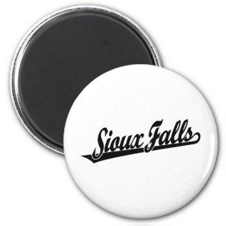 Sioux Falls script logo in black Magnets
