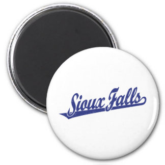 Sioux Falls script logo in blue distressed Refrigerator Magnet