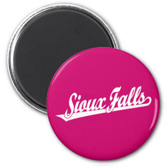 Sioux Falls script logo in white Magnet