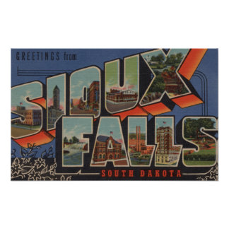 Sioux Falls, South Dakota - Large Letter Scenes Print
