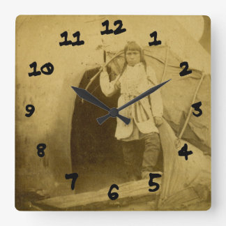 Sioux Hunter with Bow by Tee Pee Square Wall Clock
