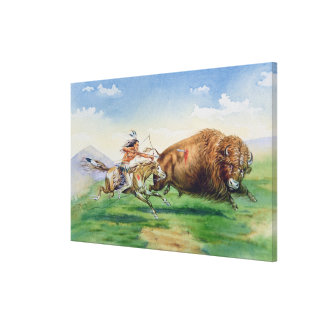 Sioux hunting buffalo on decorated pony (oil on ca canvas print