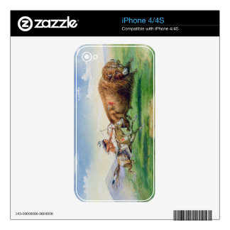 Sioux hunting buffalo on decorated pony (oil on ca skin for the iPhone 4