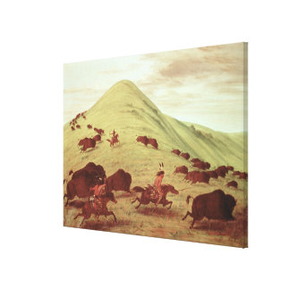 Sioux Indians hunting buffalo, 1835 (oil on canvas
