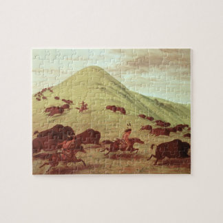 Sioux Indians hunting buffalo, 1835 (oil on canvas Jigsaw Puzzle
