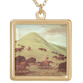 Sioux Indians hunting buffalo, 1835 (oil on canvas Necklace