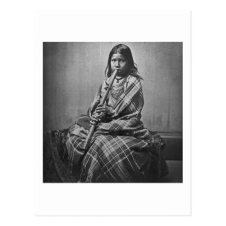 Sioux Musician Girl Black and White Postcard