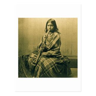 Sioux Musician Girl Sepia Post Card
