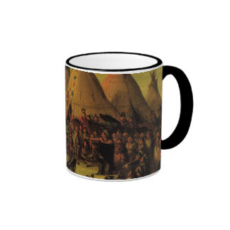 Sioux War Council Tipis by George Catlin Mugs