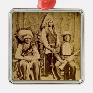 Sioux War Council Vintage Stereoview Metal Ornament