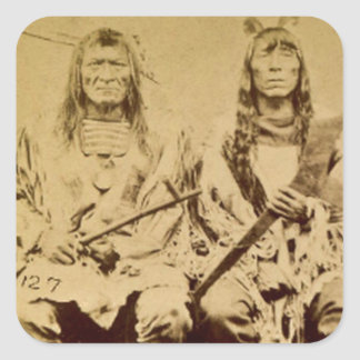 Sioux War Council Vintage Stereoview Square Sticker