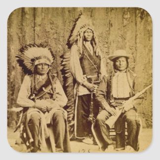 Sioux War Council Vintage Stereoview Square Stickers