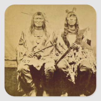 Sioux War Council Vintage Stereoview Sticker
