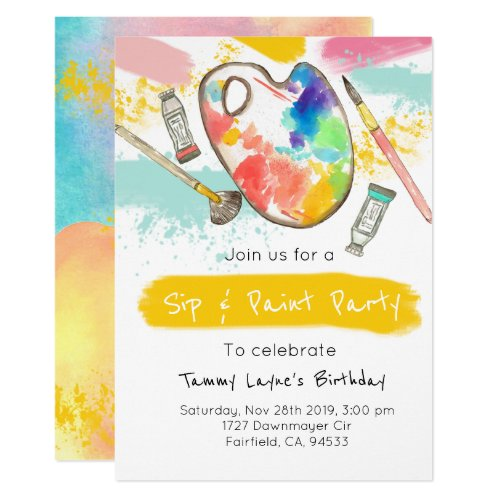 Sip and paint adult birthday party invite