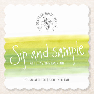 Sip and sample wine tasting paper coasters