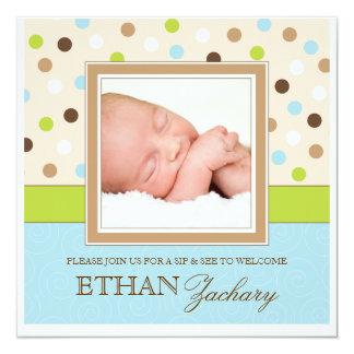 Sip and See Baby Boy Photo PolkaDot Invitation