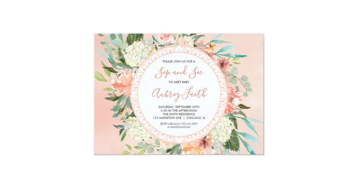 Sip And See Baby Girl Invitations Meet And Greet Invitation Zazzle Com