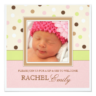 Sip and See Baby Girl Photo PolkaDot Invitation