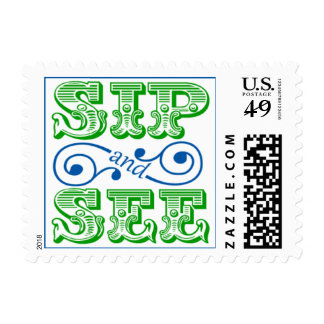 Sip And See Baby Shower Green And Blue Postage