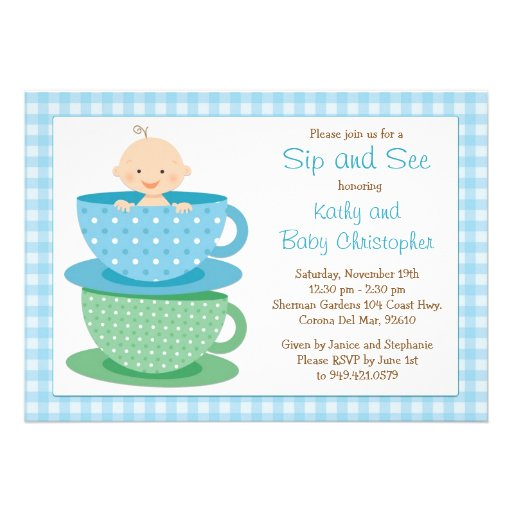 "Sip and See Baby Shower Invitation 5"" X 7"" Invitation Card 