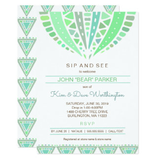 Sip and See baby shower invite, boy mandala Card
