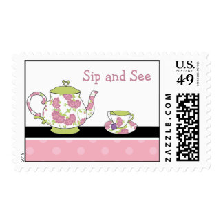 Sip and See Baby Shower Postage Stamp