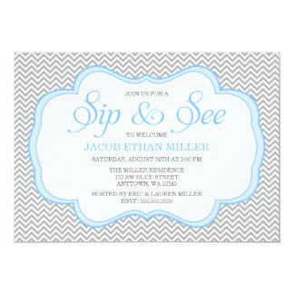 Sip and See Gray Chevron Blue Frame Invitations