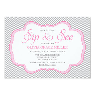 Sip and See Gray Chevron Pink Frame Invitations