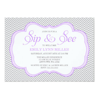 Sip and See Gray Chevron Purple Frame Invitations