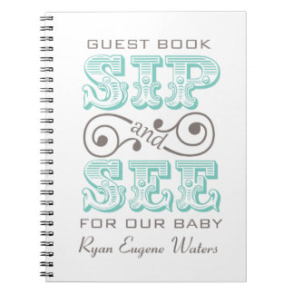 Sip And See Guest Book Keepsake Spiral Notebooks