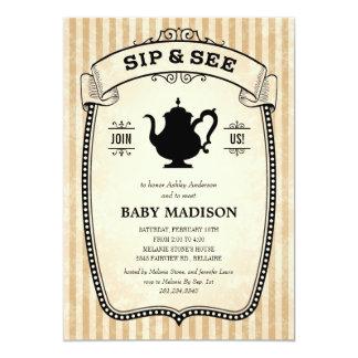 "Sip and See Invitations 5"" X 7"" Invitation Card"