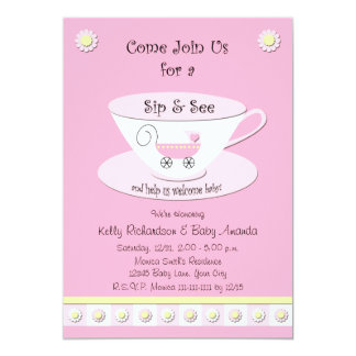 Sip and See Invitations -- Baby Girl Personalized Invites