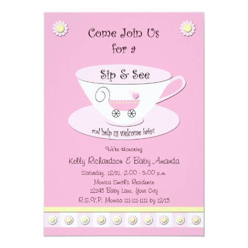 Sip and See Invitations Baby Girl | Zazzle