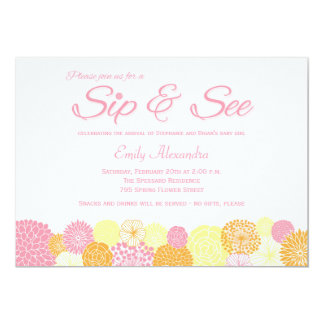 Sip and See new baby announcement party invitation