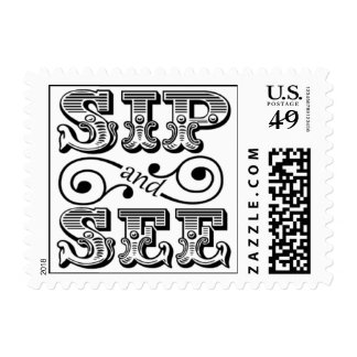 Sip And See Party Black And White Stamp