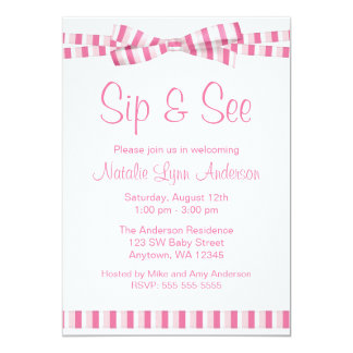 Sip and See Pink Stripe Ribbon Bow Card