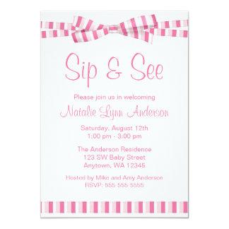 Sip and See Pink Stripe Ribbon Bow Card