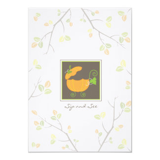 """Sip and See Pumpkin Baby Carriage Invitation 5"""" X 7"""" Invitation Card"""