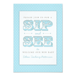 Sip and See Sweet Baby Boy in Blue Invitation