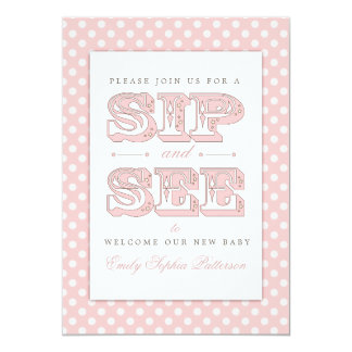Sip and See Sweet Baby Girl in Pink Invitation