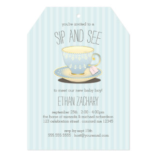 Sip and See Teacup in Blue Baby Boy Meet & Greet 5x7 Paper Invitation Card