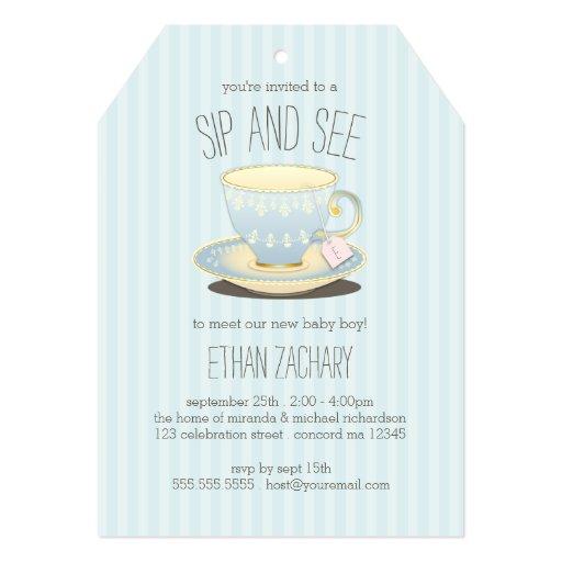 Sip and See Teacup in Blue Baby Boy Meet & Greet Invites