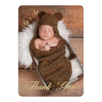 Sip and See Thank You Photo Birth Announcement