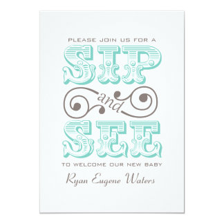 Sip And See Visit Our New Baby 5x7 Paper Invitation Card